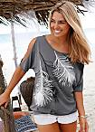 LASCANA Feather Print T-Shirt