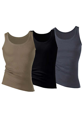 H.I.S Pack of 3 Fine Rib Tank Tops