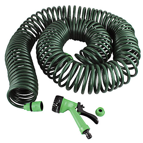 30 metre Self Coiling Garden Hose with Multijet Spray Head Freemans
