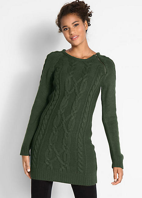 Knitting Pattern Jumper Dress : Cable Knit Jumper Dress by bpc bonprix collection Freemans