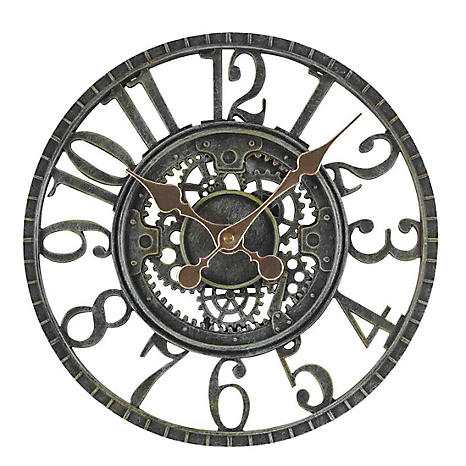 Newby verdi gris finish mechanical wall clock freemans for Garden treasures pool clock