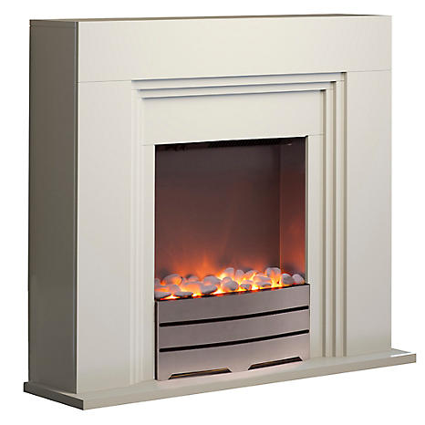York Ivory Fireplace Suite By Warmlite Freemans