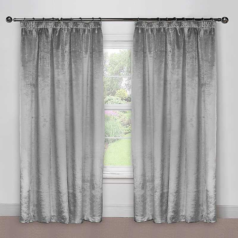 Crushed Velvet Pair of Standard Lined Curtains