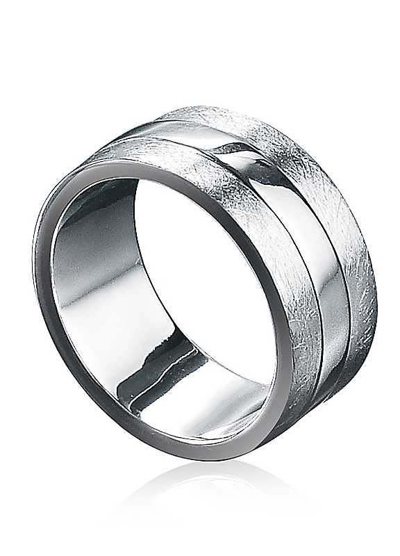 Fred Bennett Scratched & Polished Sterling Silver Ring