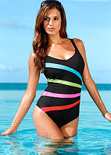 Neon Stripe Shaper Swimsuit