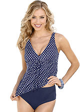 Pola Neumann Polka Dot Flared Cut Tankini Top