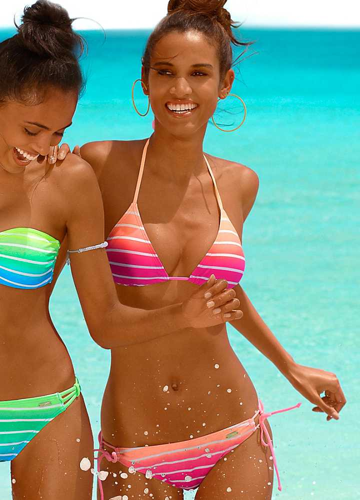venice beach striped triangle bikini. Black Bedroom Furniture Sets. Home Design Ideas